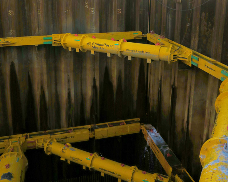 Groundforce Mega Brace system used to support deep cofferdam in Dublin